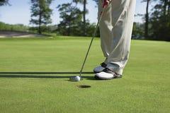 Il giocatore di golf spilla dentro con il putter su verde con gli alberi vicino ad un lago Fotografia Stock