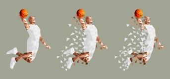 Il giocatore di pallacanestro che salta l'alto vettore illustrazione di stock