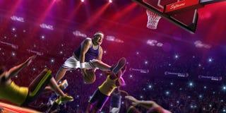 Il giocatore non professionale grasso di pallacanestro nell'azione, la corte ed il nemico 3d rendono Immagine Stock Libera da Diritti