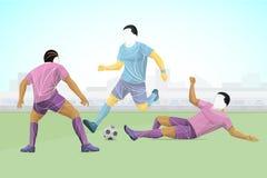 Il giocatore stilizzato e geometrico è un calciatore L'atleta è veloce, forte Illustrazione della partita di football americano Fotografie Stock