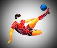 Il giocatore stilizzato e geometrico è un calciatore L'atleta è veloce, forte Illustrazione della partita di football americano Immagine Stock Libera da Diritti