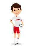 Il giocatore tiene la palla Uomo in uniforme di calcio Fotografia Stock