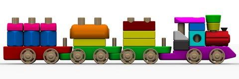 Il giocattolo del costruttore Treno di legno del giocattolo Fotografia Stock