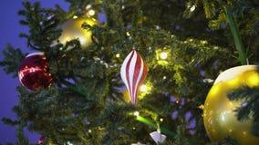 Il giocattolo dell'albero di Natale accende un ramo di albero stock footage