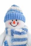 Il giocattolo sorridente del pupazzo di neve si è vestito in sciarpa e protezione fotografia stock