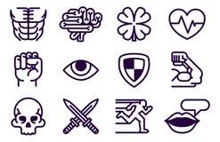 Il gioco del carattere attribuisce l'insieme dell'icona illustrazione vettoriale