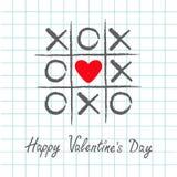 Il gioco del dito del piede di tac di tic con l'incrocio dei criss ed il cuore rosso firmano il segno XOXO Spazzola disegnata a m illustrazione di stock