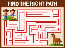 Il gioco del labirinto trova il modo del cowgirl e del cowboy per ottenere al cavallo royalty illustrazione gratis