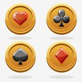 Il gioco dell'oro conia il poker Fotografia Stock Libera da Diritti