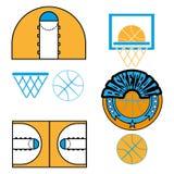 Il gioco di pallacanestro obietta le icone Immagini Stock