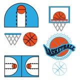 Il gioco di pallacanestro obietta le icone Fotografie Stock Libere da Diritti