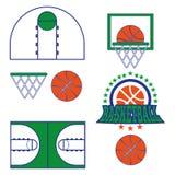 Il gioco di pallacanestro obietta le icone Immagini Stock Libere da Diritti
