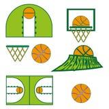 Il gioco di pallacanestro obietta le icone Fotografia Stock