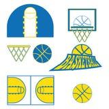 Il gioco di pallacanestro obietta le icone Immagine Stock Libera da Diritti