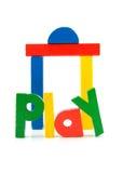 Il gioco di parola e le particelle elementari di legno Fotografia Stock Libera da Diritti
