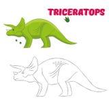 Il gioco educativo collega i punti al dinosauro di tiraggio illustrazione di stock