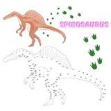 Il gioco educativo collega i punti al dinosauro di tiraggio royalty illustrazione gratis