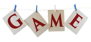 Il GIOCO segna Abstarct con lettere Immagine Stock