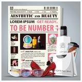 Il giornale di bellezza ed estetico presenta con il cosmetico Fotografia Stock