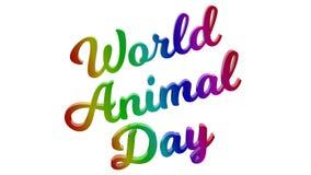 Il giorno animale 3D calligrafico del mondo ha reso l'illustrazione del testo colorata con la pendenza dell'arcobaleno di RGB Fotografia Stock Libera da Diritti