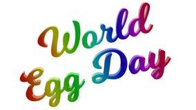 Il giorno 3D calligrafico dell'uovo del mondo ha reso l'illustrazione del testo colorata con la pendenza dell'arcobaleno di RGB Immagini Stock