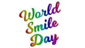 Il giorno 3D calligrafico di sorriso del mondo ha reso l'illustrazione del testo colorata con la pendenza dell'arcobaleno di RGB Immagine Stock