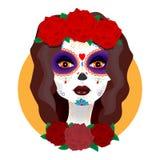 Il giorno dei morti Bella ragazza con le rose Fotografia Stock