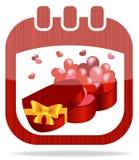 Il giorno del biglietto di S. Valentino del calendario dell'icona Immagine Stock Libera da Diritti