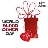 Il giorno del donatore di sangue del mondo, illustrazione di vettore con il dispositivo di gocciolamento e sente Fotografie Stock Libere da Diritti