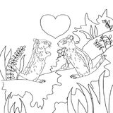 Il giorno del ` s del biglietto di S. Valentino, due ha innamorato le tamie, la coloritura, disegno in bianco e nero Fotografia Stock Libera da Diritti