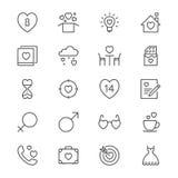 Il giorno del ` s del biglietto di S. Valentino assottiglia le icone Immagine Stock