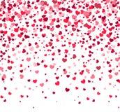 Il giorno di biglietti di S. Valentino - vector la cartolina d'auguri con i cuori su fondo bianco Immagine Stock