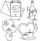 Il giorno di biglietti di S. Valentino di vettore ha messo il bouque, vite candele e notifica illustrazione vettoriale