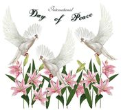 Il giorno di pace, piccione con il mondo con i gigli fiorisce, illustr di vettore immagini stock