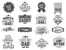 Il giorno di padri felice isolato cita sui precedenti bianchi Etichetta di congratulazione del papà, raccolta di vettore del dist Fotografia Stock