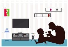 Il giorno di padri mangia il salone della siluetta del bambino Fotografia Stock