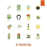 Il giorno di Patricks del san ha isolato l'insieme dell'icona Immagine Stock