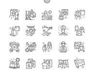 Il giorno di religione del mondo Ben-ha elaborato la linea sottile la griglia 2x delle icone 30 di vettore perfetto del pixel per illustrazione vettoriale