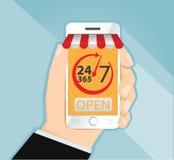 Il giorno e la notte online comperano sullo Smart Phone 24/7 online, vettore di concetto di commercio elettronico Immagine Stock