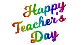 Il giorno felice 3D calligrafico del ` s dell'insegnante ha reso l'illustrazione del testo colorata con la pendenza dell'arcobale Fotografia Stock Libera da Diritti