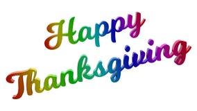 Il giorno felice 3D calligrafico di ringraziamento ha reso l'illustrazione del testo colorata con la pendenza dell'arcobaleno di  Immagini Stock Libere da Diritti