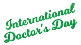 Il giorno internazionale 3D calligrafico di Doctor's ha reso l'illustrazione del testo colorata con verde chiaro Fotografia Stock Libera da Diritti