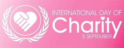 Il giorno internazionale della carità con si tiene per mano il logo illustrazione di stock