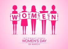 Il giorno internazionale delle donne con la tenuta della donna rosa sulle DONNE dell'insegna manda un sms alla progettazione rosa illustrazione vettoriale