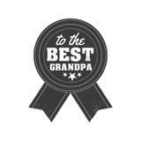 Il giorno isolato dei nonni cita sui precedenti bianchi Al migliore nonno Etichetta del nonno di congratulazioni, distintivo Fotografia Stock Libera da Diritti