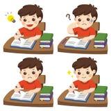 Il giorno quotidiano per lo studente del ragazzo che fa compito royalty illustrazione gratis