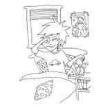 Il giorno quotidiano per lo studente del ragazzo per colorare illustrazione di stock