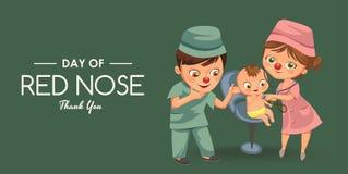 Il giorno rosso felice del naso, madre ha portato sua figlia a medico in ospedale, nel clownnose di divertimento della mamma e ne illustrazione di stock