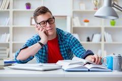 Il giovane adolescente che prepara per gli esami che studiano ad uno scrittorio all'interno Immagini Stock