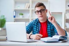Il giovane adolescente che prepara per gli esami che studiano ad uno scrittorio all'interno Immagine Stock